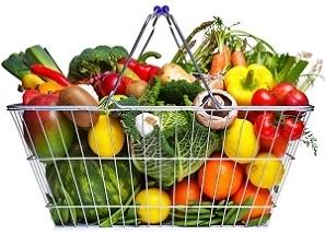 Basket of Antioxidant Fruit and Vegetables